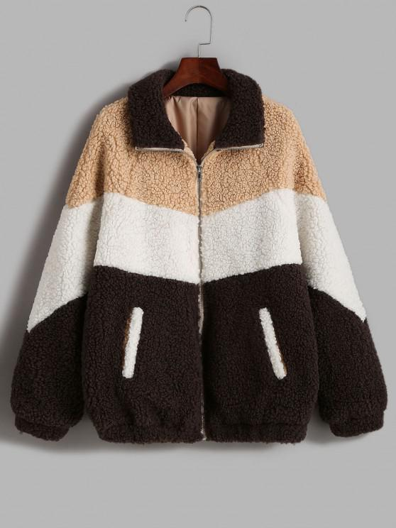 affordable ZAFUL Zip Up Colorblock Pockets Teddy Coat - COFFEE M