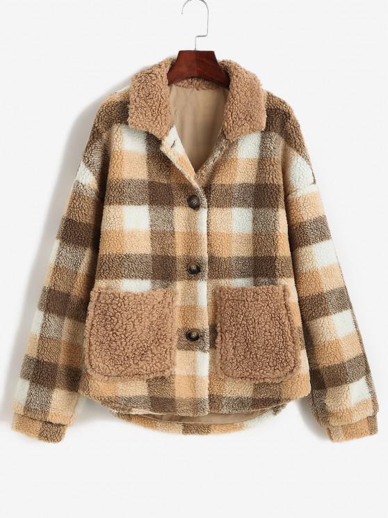 hot ZAFUL Button Up Plaid Pockets Teddy Jacket - COFFEE M