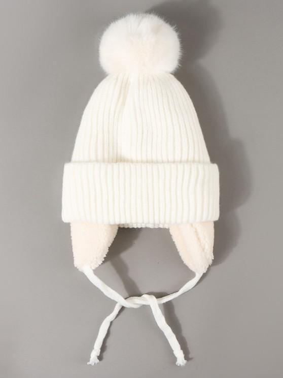 ladies Inner Plush Knitted Ear Warmer Beanie - WHITE