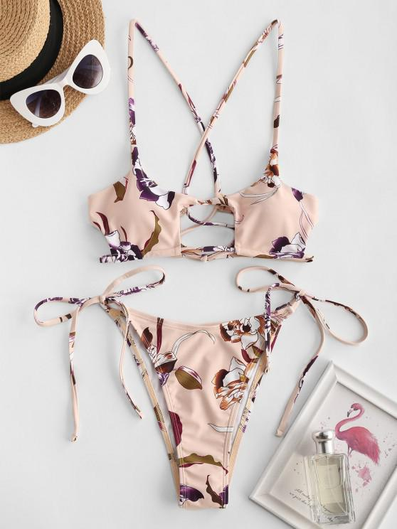 sale ZAFUL Flower Lace Up Cutout String Bikini Swimwear - LIGHT YELLOW M