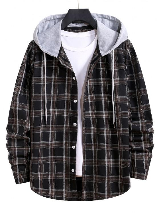 Hooded Plaid Print Button Up Drawstring Shirt - أسود S
