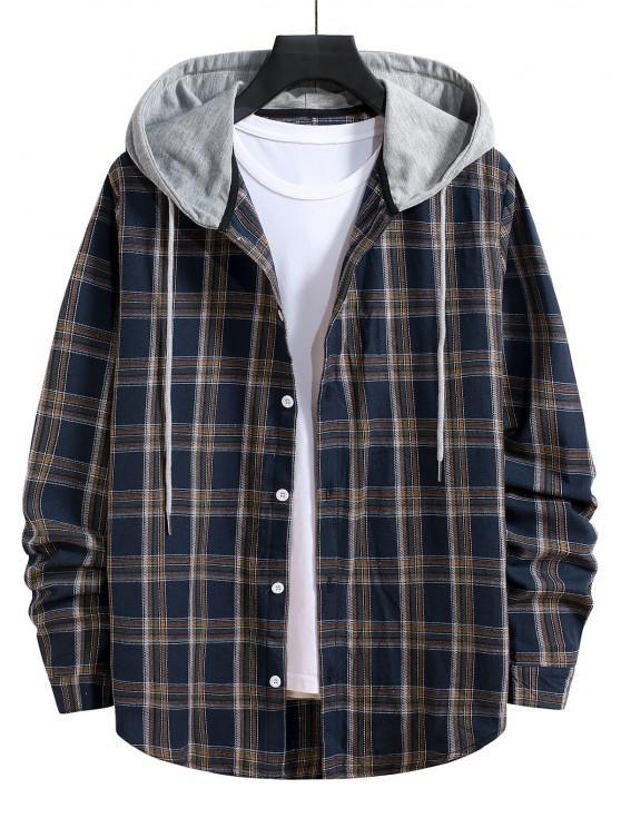 Hooded Plaid Print Button Up Drawstring Shirt - الدينيم الأزرق الداكن L