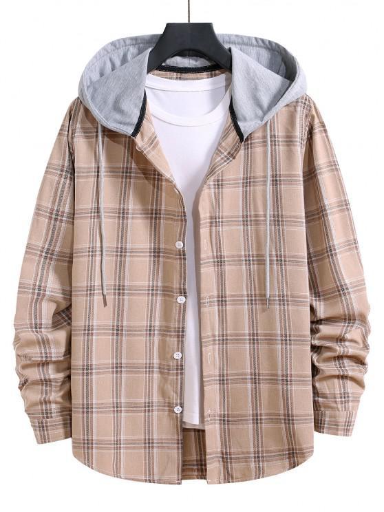 Hooded Plaid Print Button Up Drawstring Shirt - بلانشيد اللوز XL