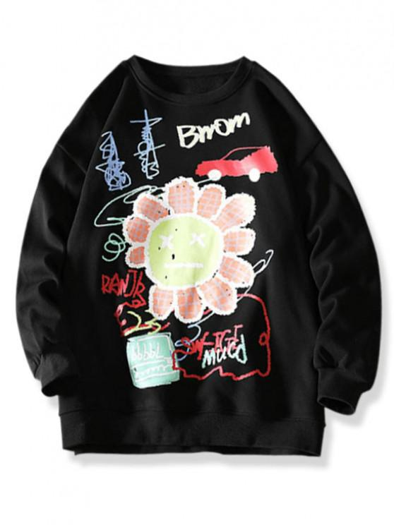 trendy Cartoon Smiling Flower Letter Graphic Sweatshirt - BLACK 3XL