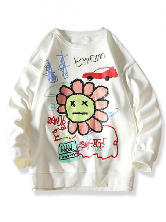 women's Cartoon Smiling Flower Letter Graphic Sweatshirt - WHITE XL