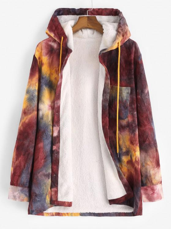 fashion Hooded Tie Dye Pattern Fleece Corduroy Jacket - RED WINE XL