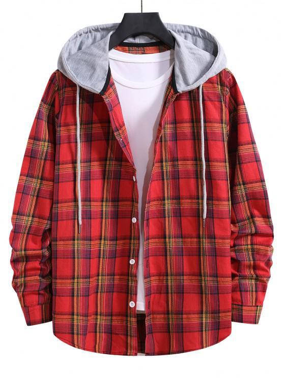 shop Hooded Plaid Print Drawstring Shirt - RED S