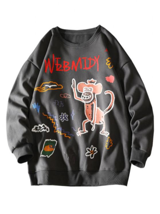 women Cartoon Monkey Flower Letter Graphic Sweatshirt - DARK GRAY M