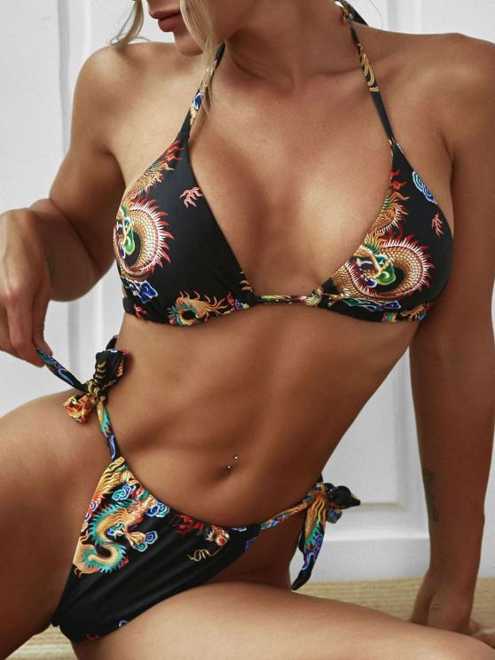 hot ZAFUL Chinoiserie Halter Dragon Print Bikini Swimwear - BLACK M