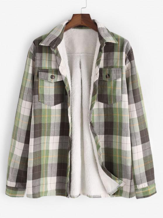 Plaid Pocket Faux Fur Lined Shirt Jacket - اخضر فاتح L
