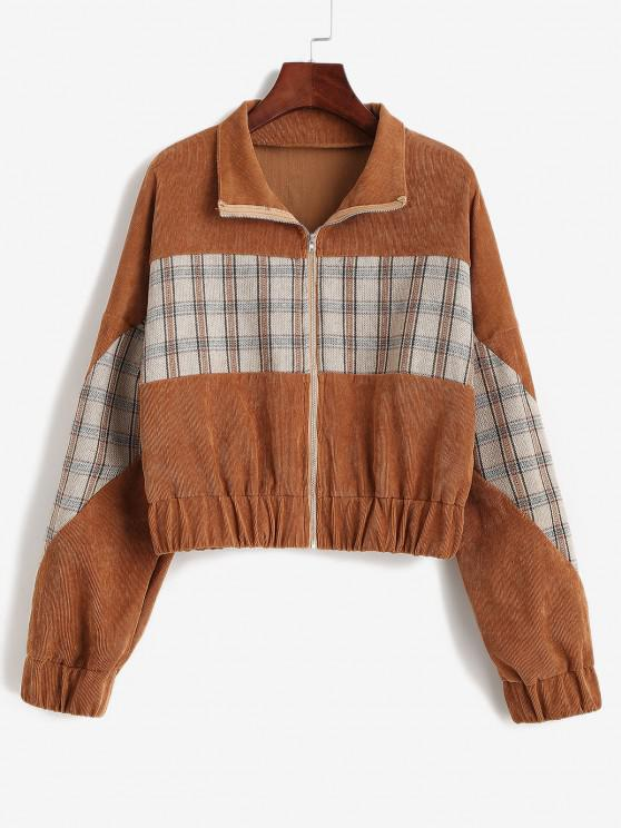 fashion Plaid Panel Zip Up Corduroy Jacket - COFFEE L