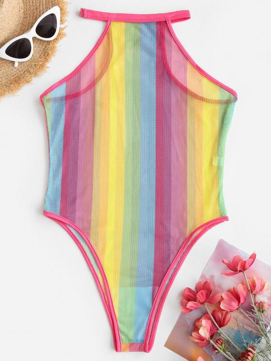 women Fishnet Rainbow Striped See Thru One-piece Swimsuit - MULTI S
