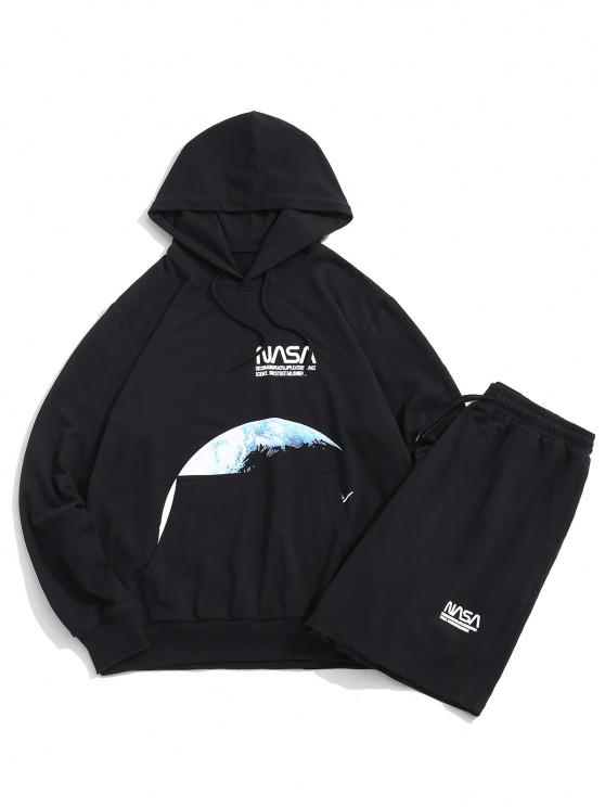 hot Moon Space Shuttle Letter Pattern Hoodie And Shorts - BLACK L