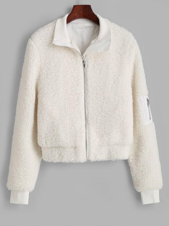 sale ZAFUL Ribbed Trim Zippered Teddy Jacket - WHITE L