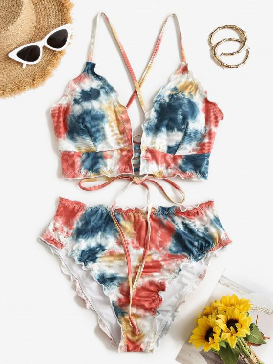women ZAFUL Tie Dye Lettuce-trim Crisscross Lace-up Ribbed Tankini Swimwear - MULTI M