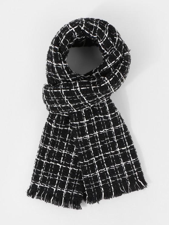 women's Plaid Pattern Fringe Winter Scarf - BLACK