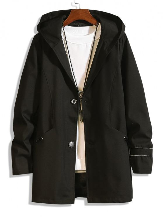 latest Hooded Single Breasted Double Pockets Trench Coat - BLACK S