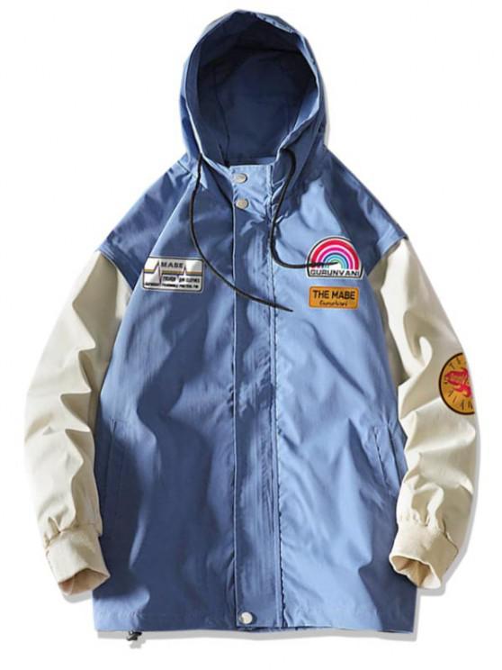 women's Rainbow Letter Graphic Colorblock Sleeve Hooded Jacket - DENIM BLUE M