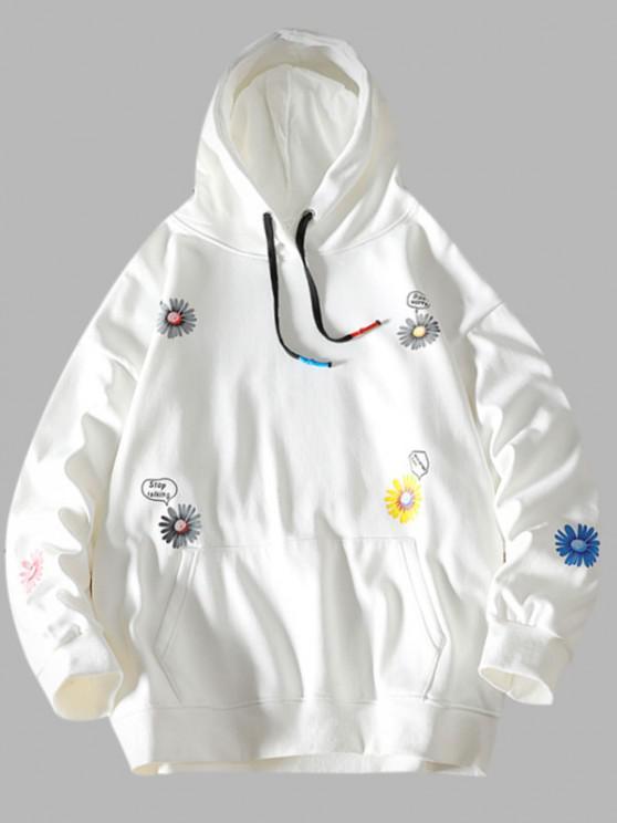Daisy Letter Pattern Front Pocket Hoodie - أبيض S
