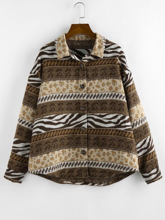 online ZAFUL Leopard Zebra Cherry Drop Shoulder Coat - COFFEE S