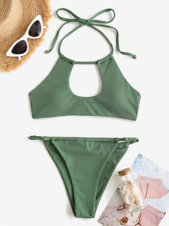 unique ZAFUL Ribbed Halter Cutout Tanga Bikini Swimwear - DEEP GREEN S
