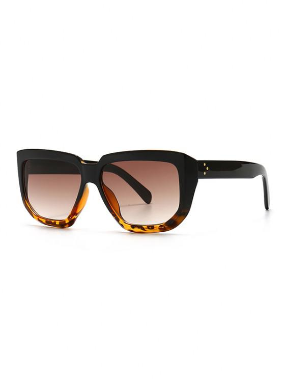 women Rivet Oversized Irregular Sunglasses - BROWN