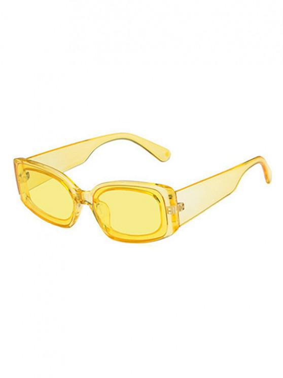 chic Rectangle Wide Temple Sunglasses - SUN YELLOW