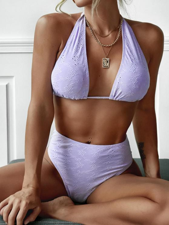 ZAFUL Convertible Eyelet Tie Back Bikini Swimwear - ضوء ارجواني S