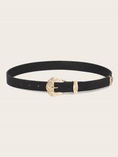 Embossed Flower Buckle PU Leather Waist Belt - Black