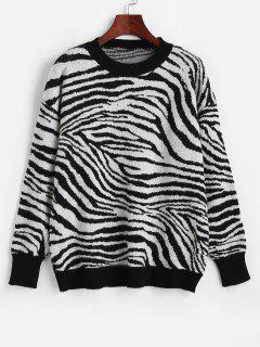 Crew Neck Drop Shoulder Zebra Sweater - Multi-h
