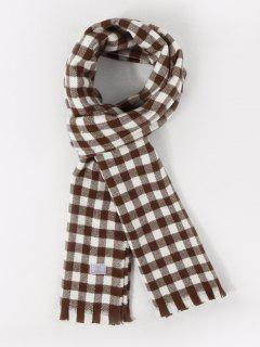 Long Checkered Pattern Fringe Scarf - Deep Brown
