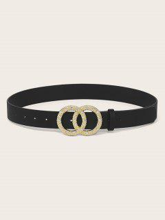 Circle Buckle Rhinestone Decorative Belt - Black