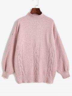 High Neck Cable Knit Drop Shoulder Solid Sweater - Light Pink