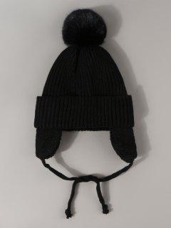 Inner Plush Knitted Ear Warmer Hat - Black
