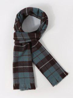 Plaid Pattern Long Shawl Scarf - Peacock Blue