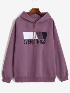 Oversize Fleece Lined EVERYTHING Graphic Hoodie - Purple Flower L