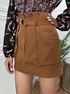 Mini Paperbag Skirt With Pockets - Coffee Xl