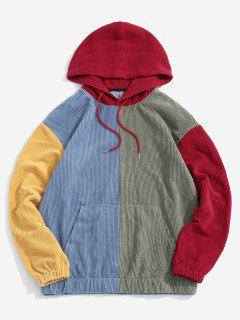 Corduroy Color Blocking Patchwork Hoodie - Red Xl