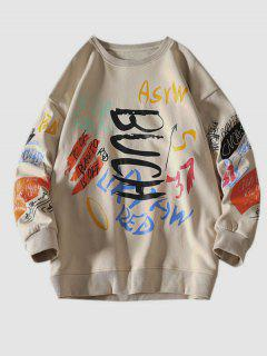 Letter Paint Graphic Crew Neck Sweatshirt - Khaki 2xl