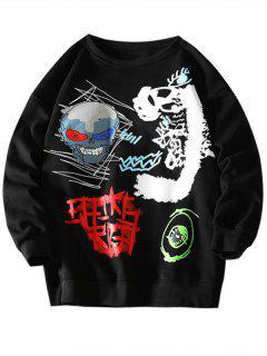 Skull Eye Letter Pattern Graphic Sweatshirt - Black Xl