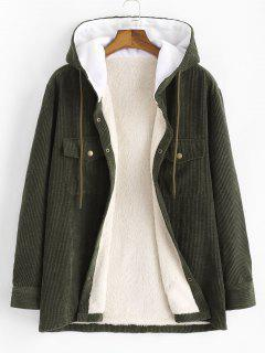 Hooded Double Pockets Fleece Corduroy Jacket - Army Green L