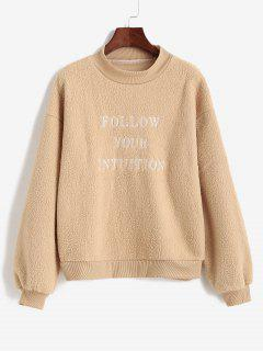 Letter Embroidered Mock Neck Teddy Sweatshirt - Cookie Brown M