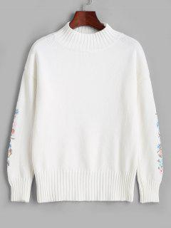 High Neck Floral Embroidered Drop Shoulder Sweater - Milk White