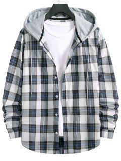 Drawstring Hooded Plaid Print Button Up Shirt - Denim Dark Blue L