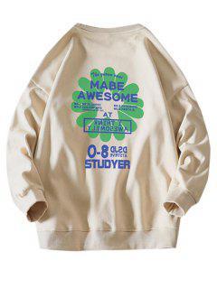 Sweat-shirt Lettre Graphique Fleur Design - Kaki 3xl
