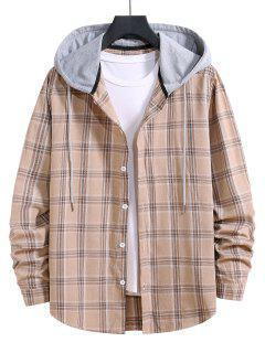 Hooded Plaid Print Button Up Drawstring Shirt - Blanched Almond S