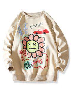Sweat-shirt Graphique Lettre Fleur Dessin Animé - Kaki 3xl