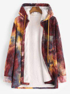 Hooded Tie Dye Pattern Fleece Corduroy Jacket - Red Wine Xl