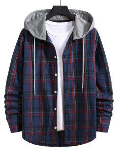Hooded Plaid Print Drawstring Shirt - Denim Dark Blue 2xl