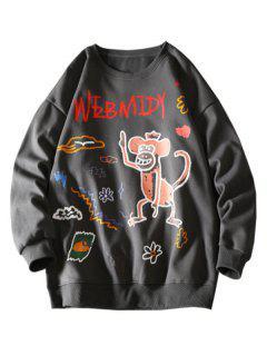 Cartoon Monkey Flower Letter Graphic Sweatshirt - Dark Gray L